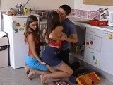 2 Hot Babes Share Cock in Kitchen
