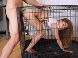 Teen fucked in doggy cage